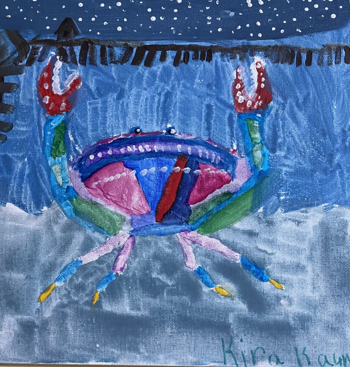 Second Place – #11 – Happy Crab in the Bay – Kira Kaunitz – Age 8