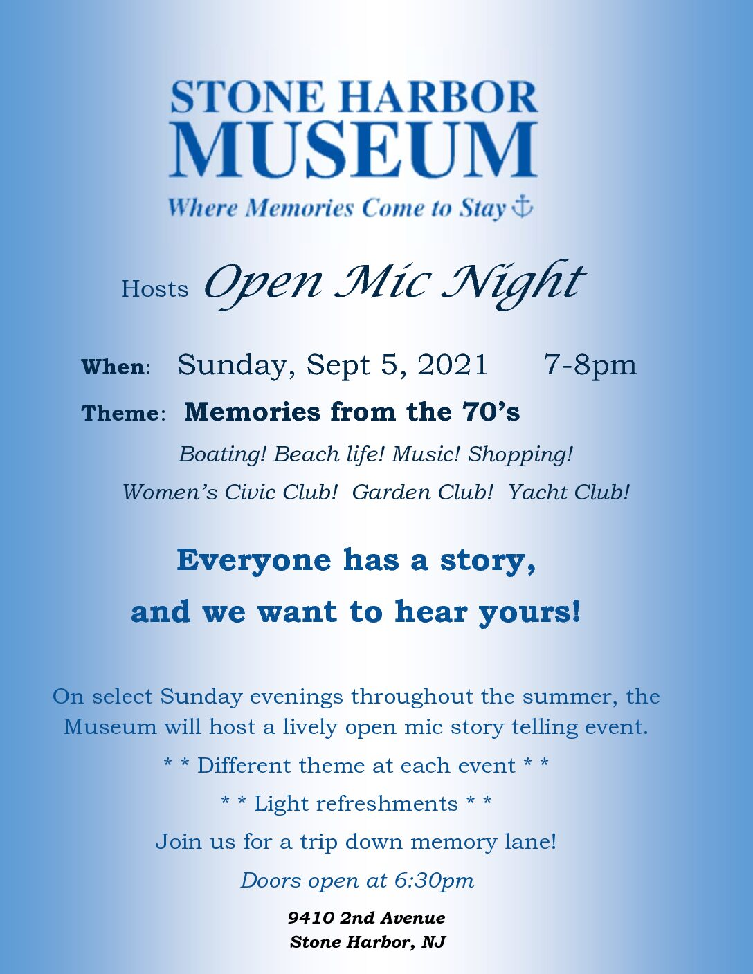 Open-Mic Night – Memories from the 70's